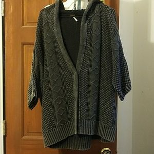 Free People Cable Sweater Cardi